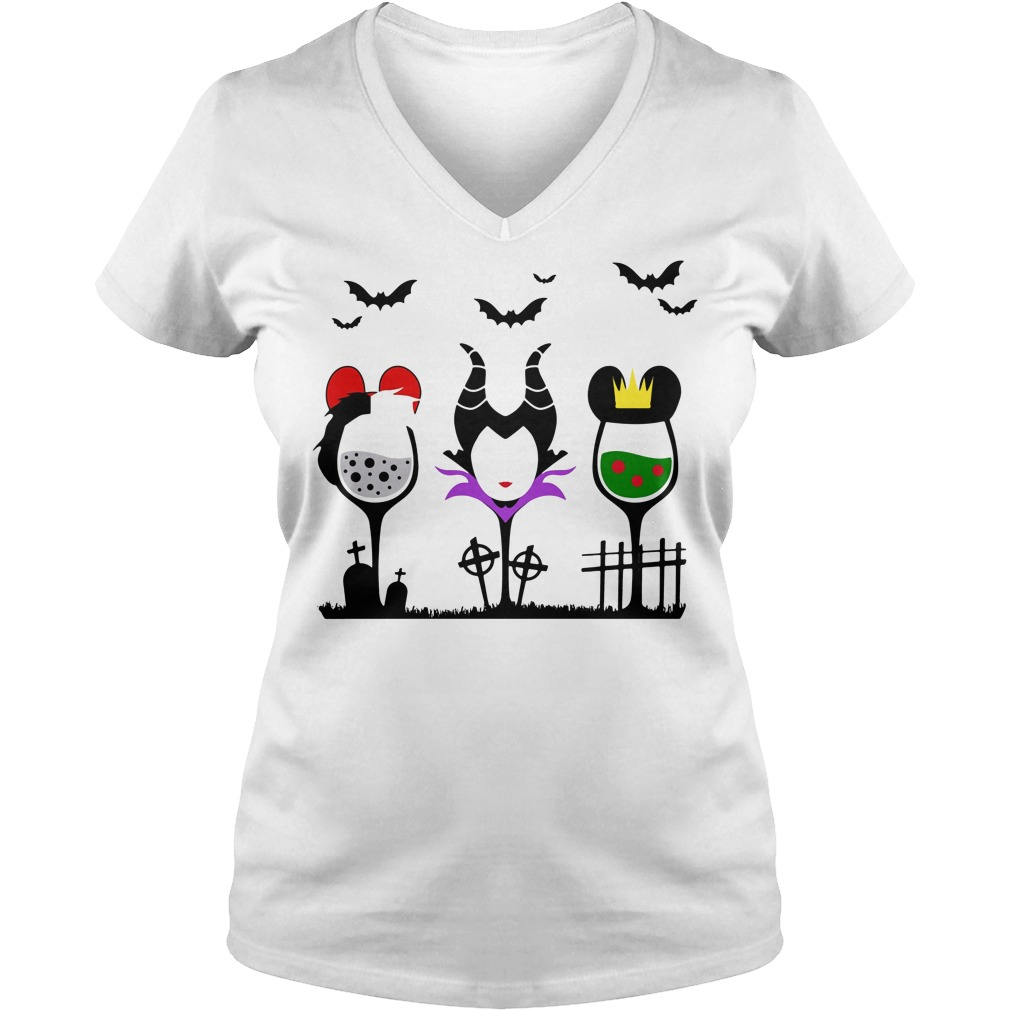 Disney Villains Cruella de Vil Maleficent Evil Queen wine Halloween V-neck t-shirt