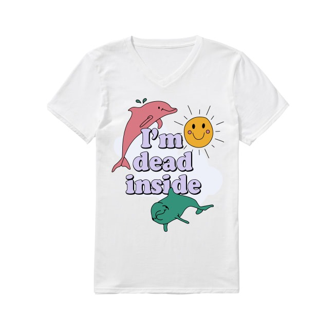 Dolphins I'm dead inside sunshine V-neck T-shirt