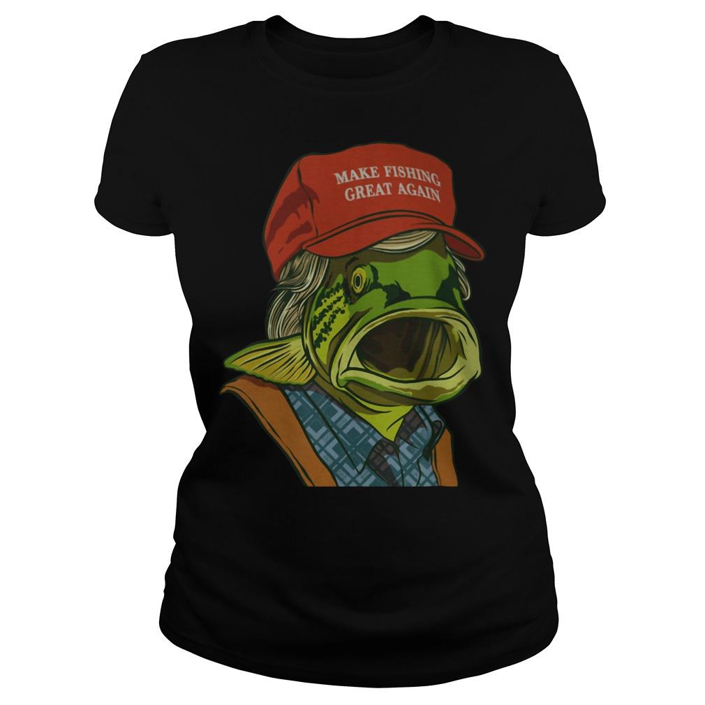 Fish's red cap Make fishing great again Ladies tee