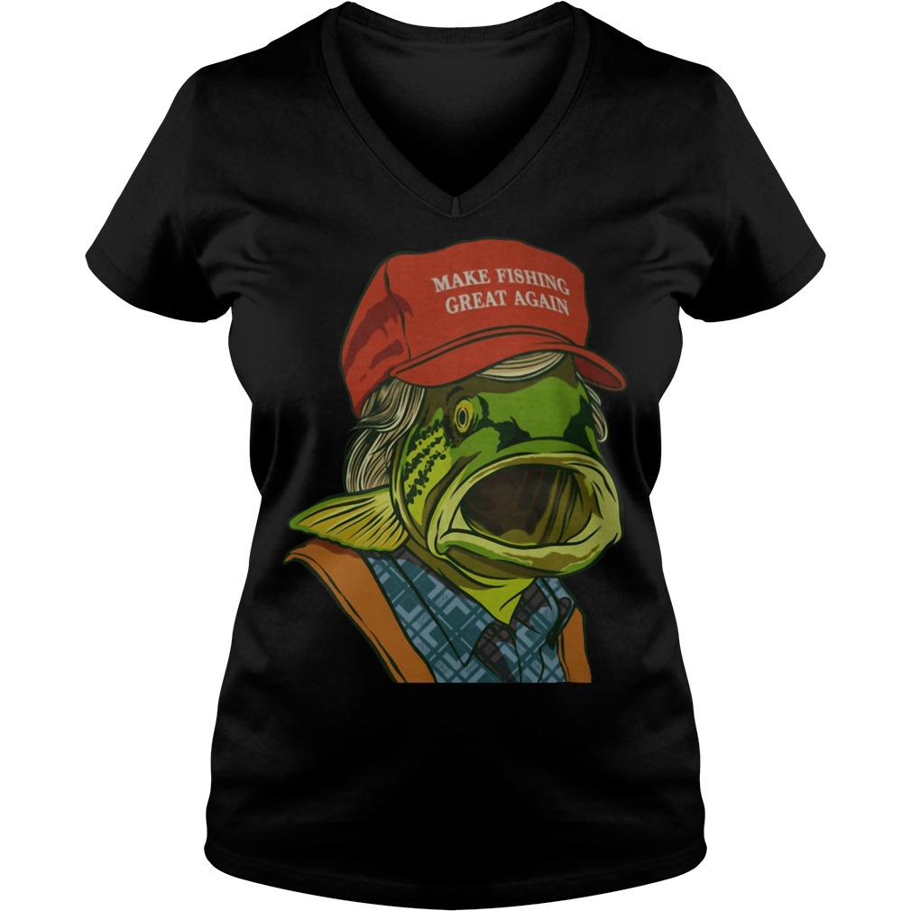 Fish's red cap Make fishing great again V-neck t-shirt