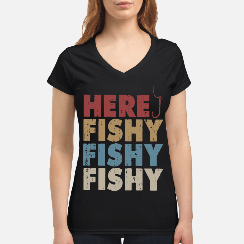 Here fishy fishy fishy V-neck t-shirt