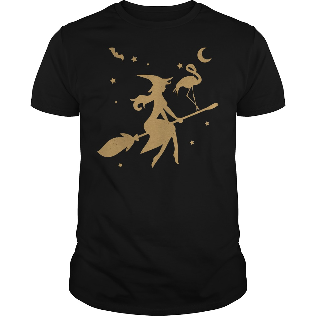 Flamingo Witch happy halloween Guys shirt