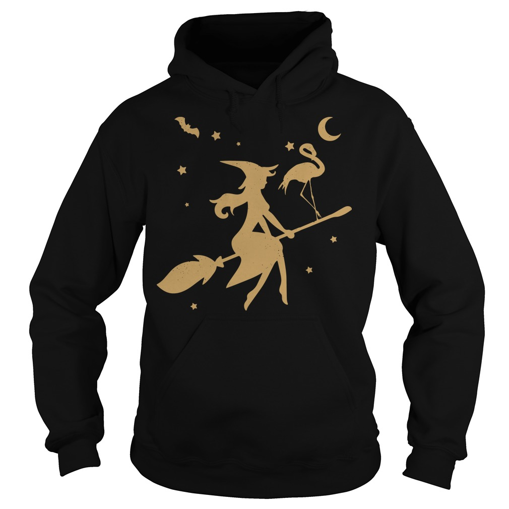 Flamingo Witch happy halloween Hoodie