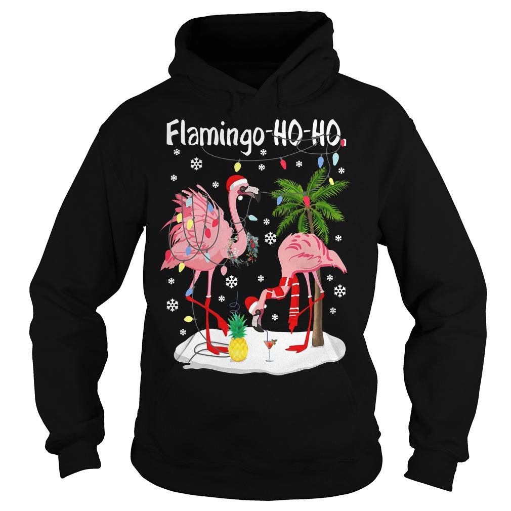 Merry Christmas Flamingo Ho Ho glitter print Hoodie