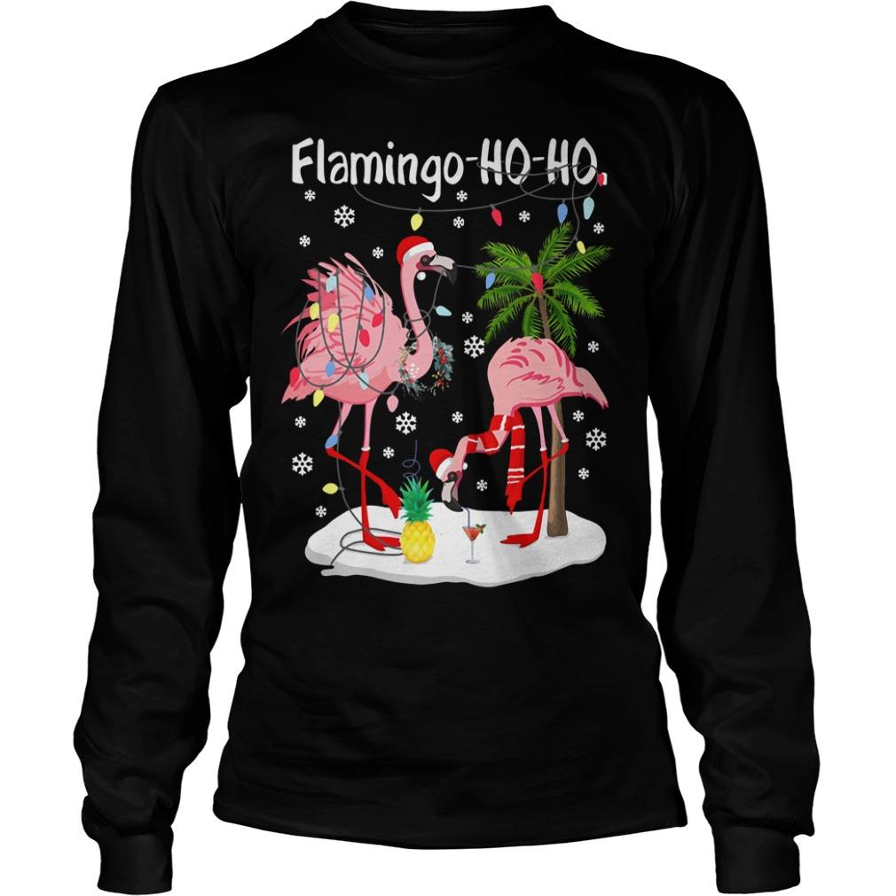 Merry Christmas Flamingo Ho Ho glitter print Longsleeve Tee