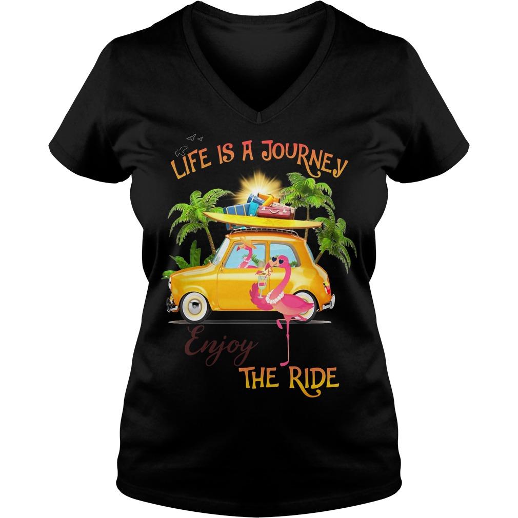 Flamingo life is a journey enjoy the ride V-neck T-shirt