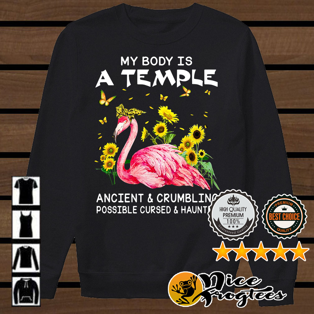 Flamingo sunflower my body is a temple ancient crumbling possible shirt