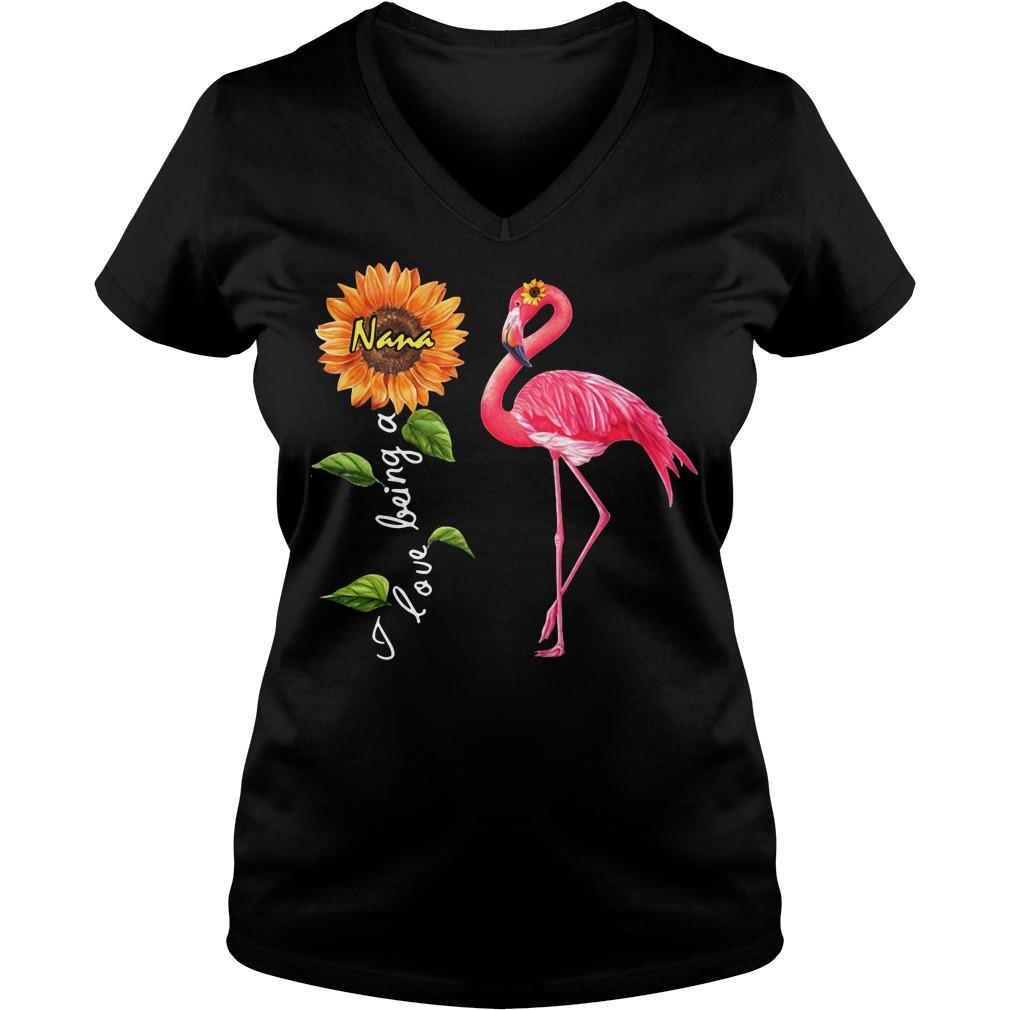 Flamingo sunflower I love being a Nana V-neck T-shirt