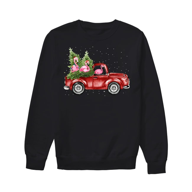 Flamingo truck Christmas tree Sweater