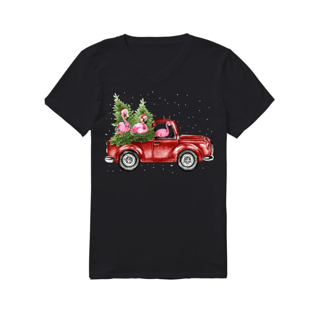 Flamingo truck Christmas tree V-neck T-shirt