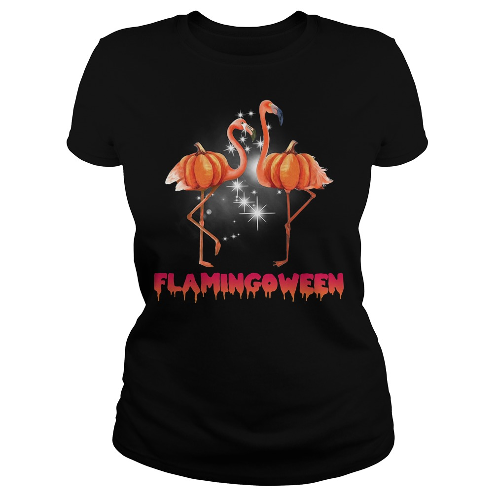 Flamingoween pumpkin Flamingo halloween Ladies tee