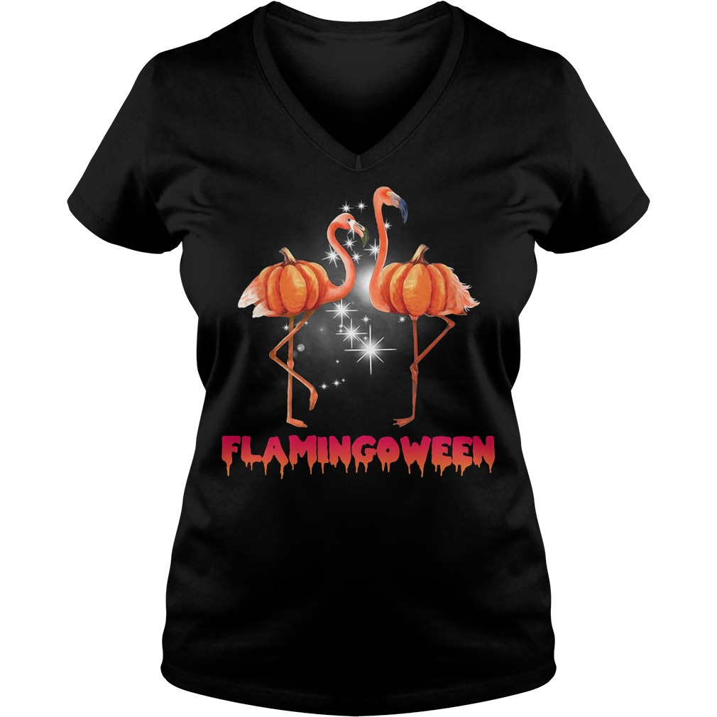 Flamingoween pumpkin Flamingo halloween V-neck T-shirt