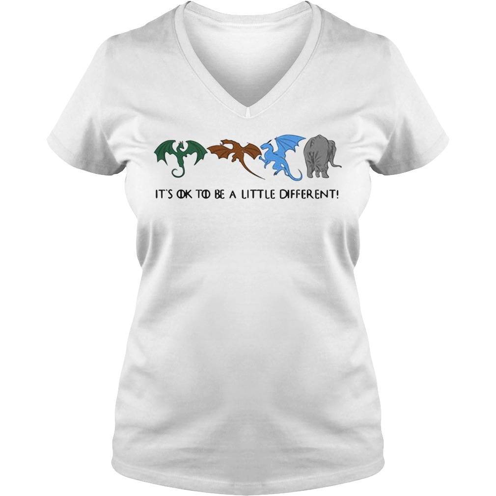 Game of Thrones autism dragons and elephant it's ok to be a little different V-neck t-shirt