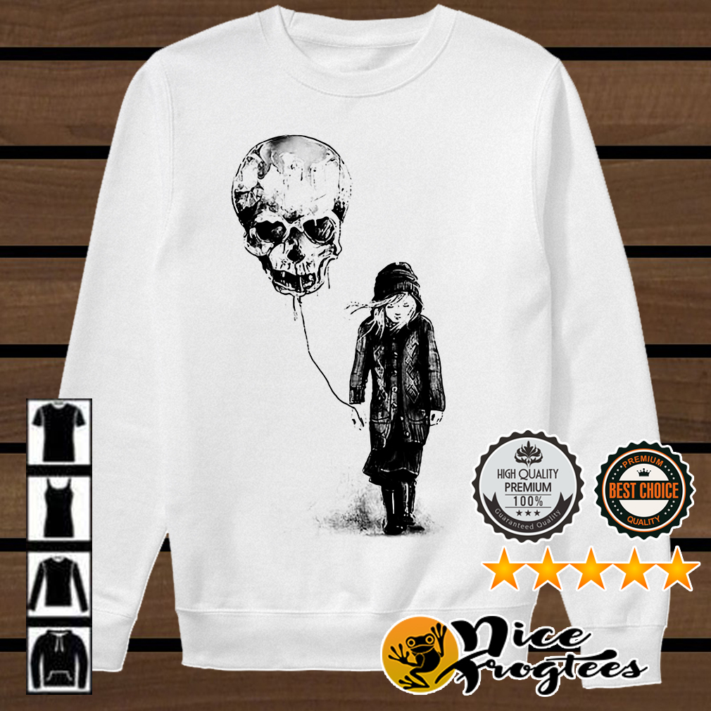 Girl with skull balloon shirt