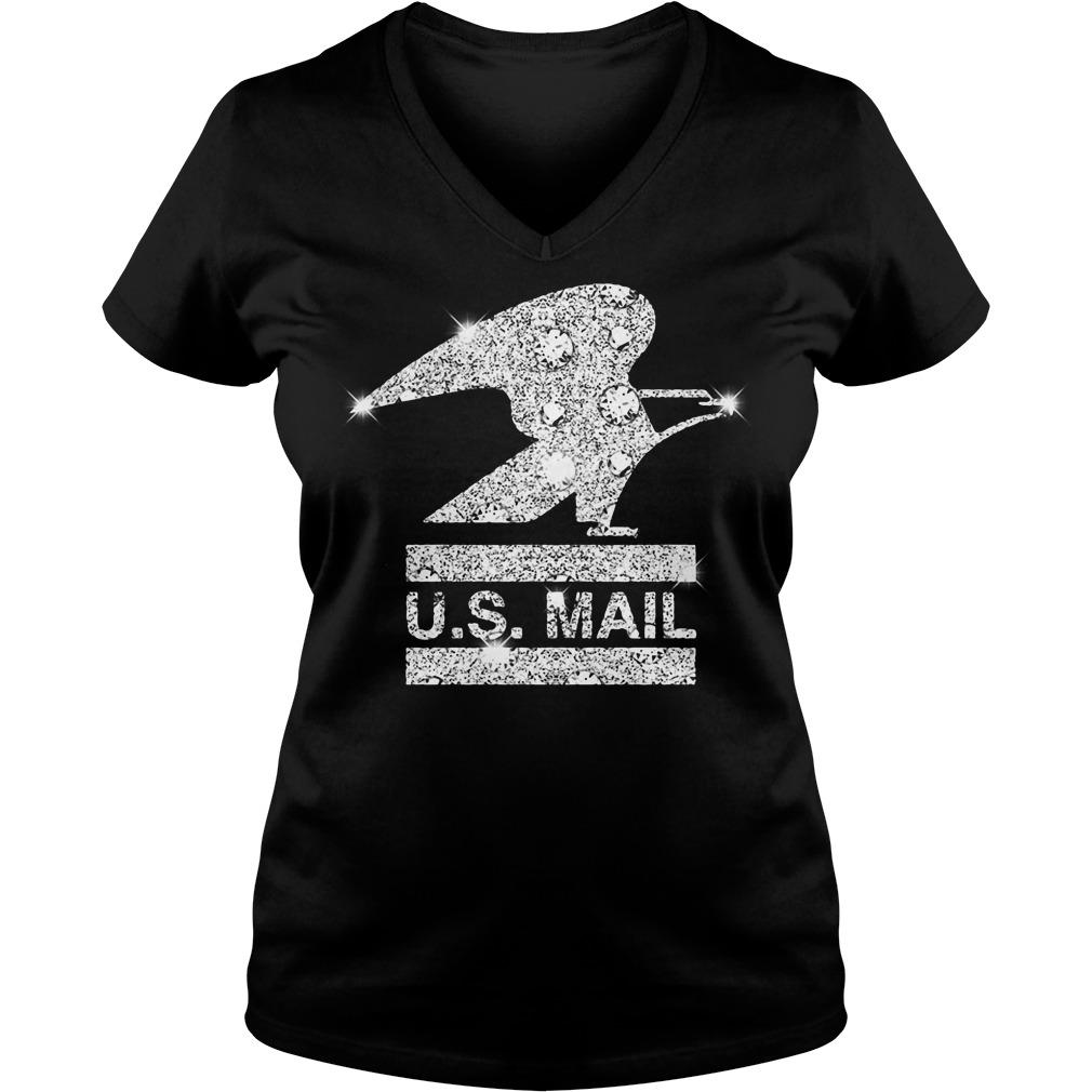 Glitter diamond US mail V-neck t-shirt