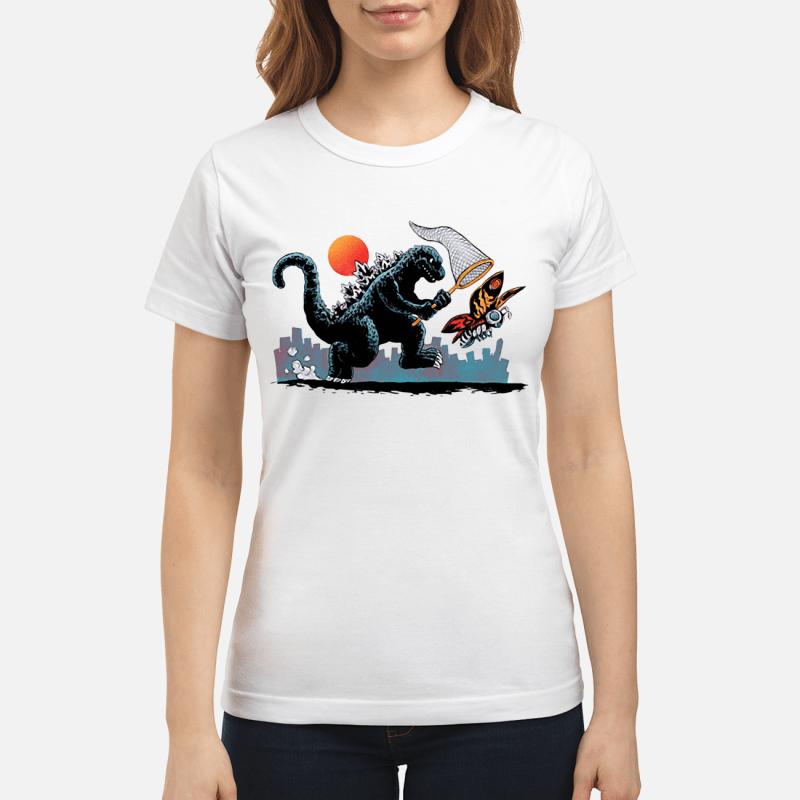 Godzilla catching Kaiju Ladies tee