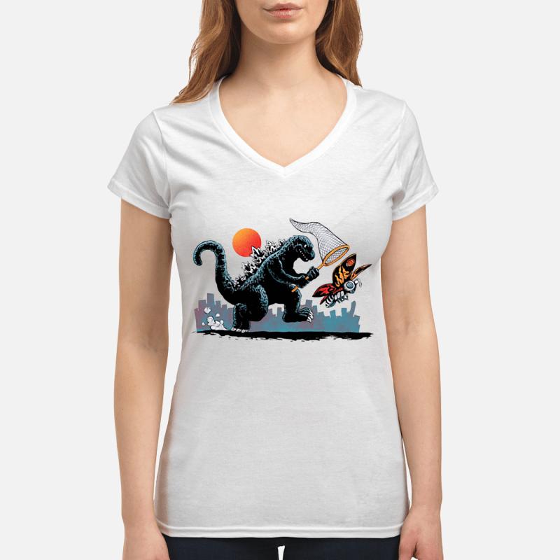 Godzilla catching Kaiju V-neck t-shirt