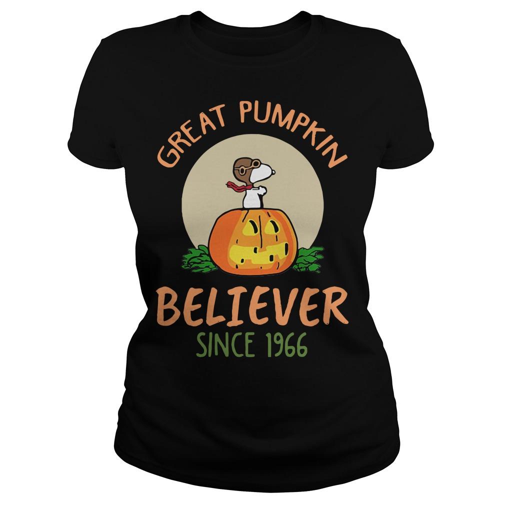 Snoopy great pumpkin believer since 1966 Ladies Tee