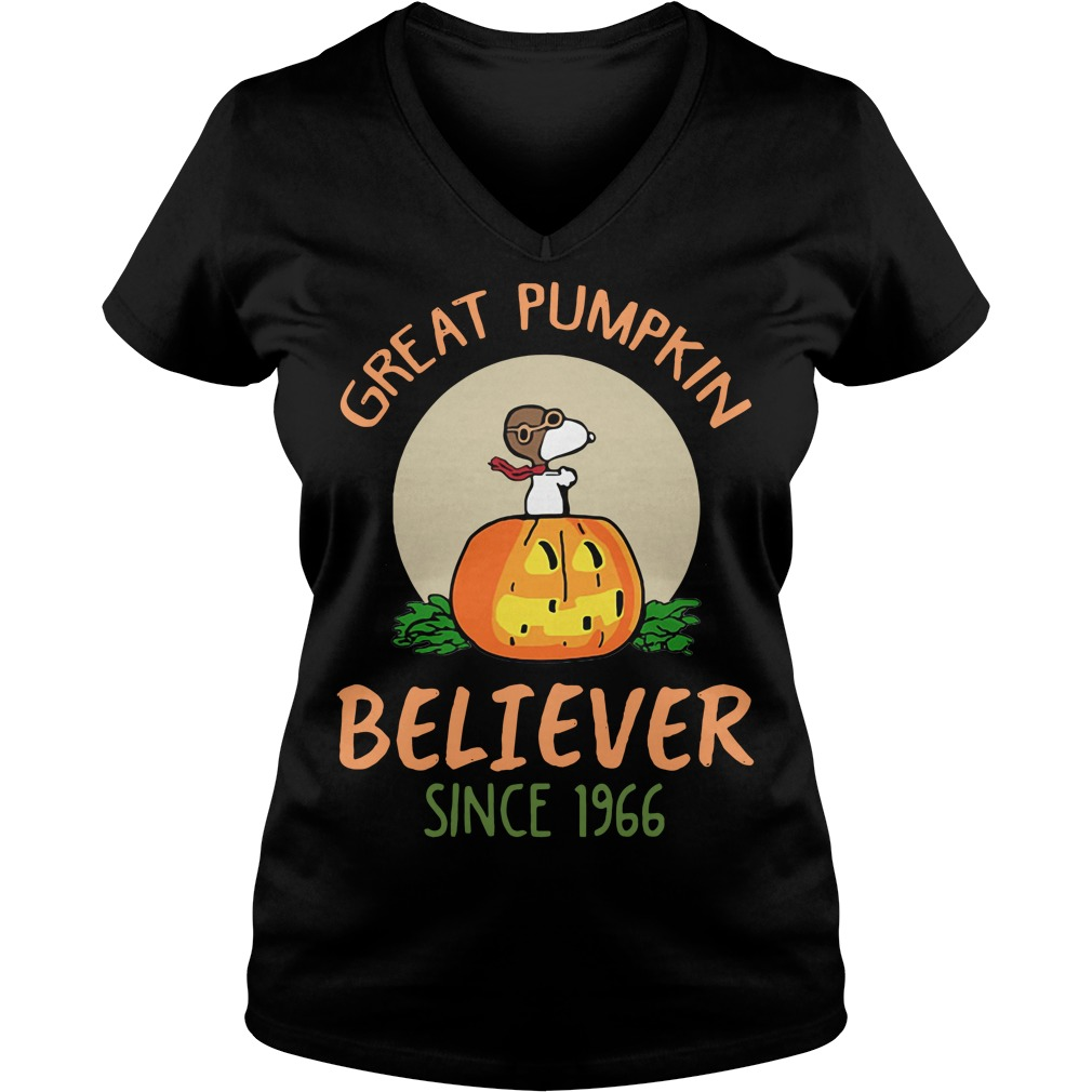 Snoopy great pumpkin believer since 1966 V-neck T-shirt