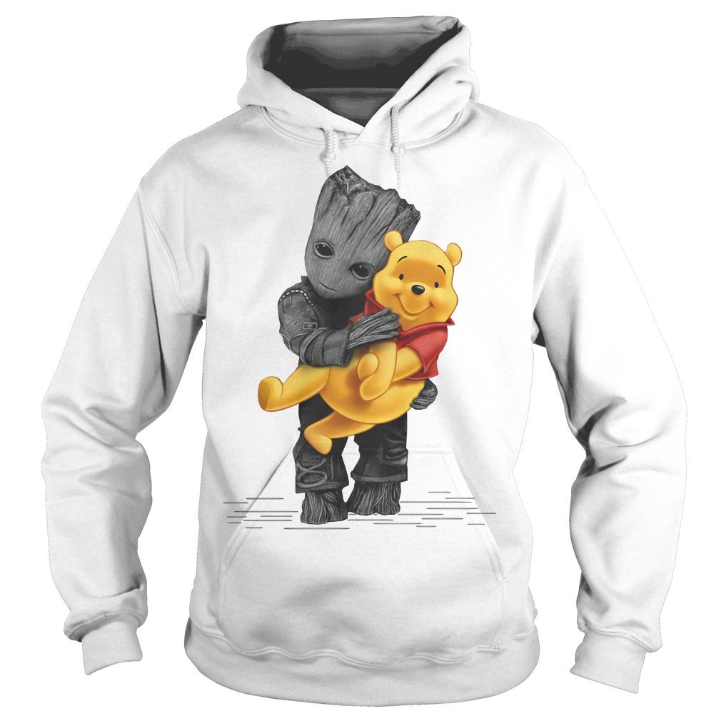 Groot hug baby Pooh Hoodie