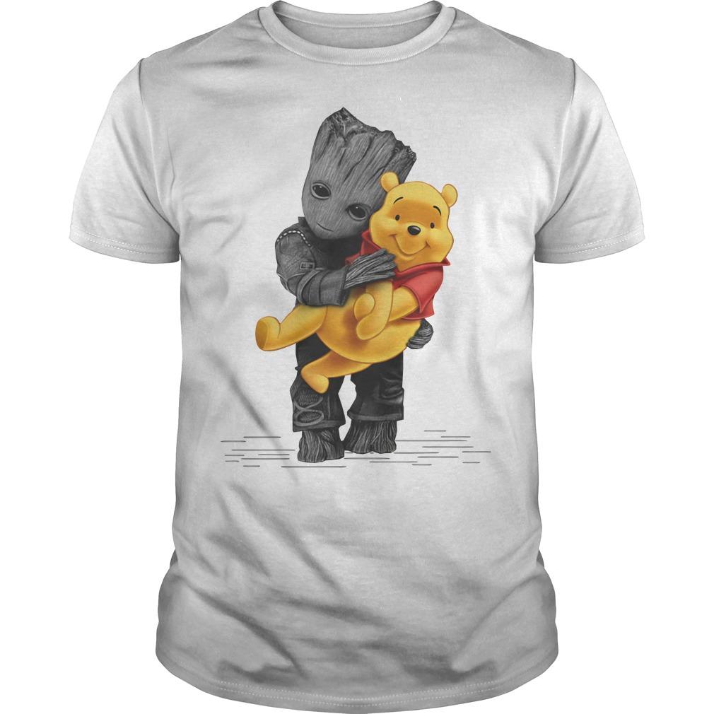 Groot hug baby Pooh shirt