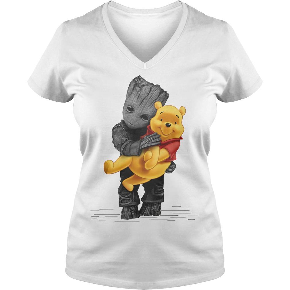 Groot hug baby Pooh V-neck T-shirt