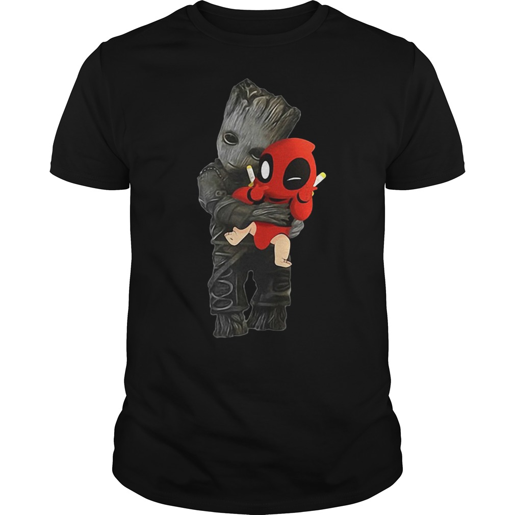 Groot hug Baby Deadpool shirt