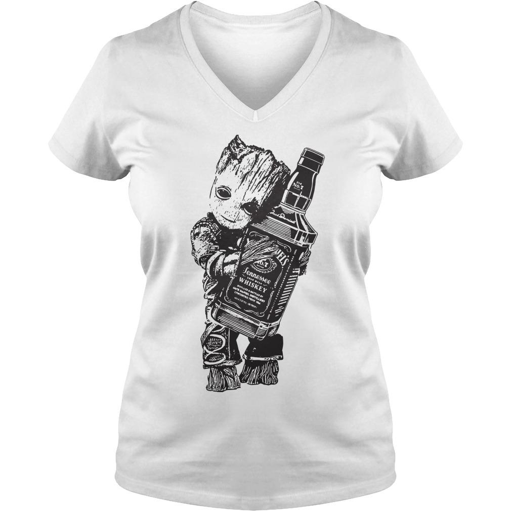 Groot hug Jack Daniel's V-neck t-shirt