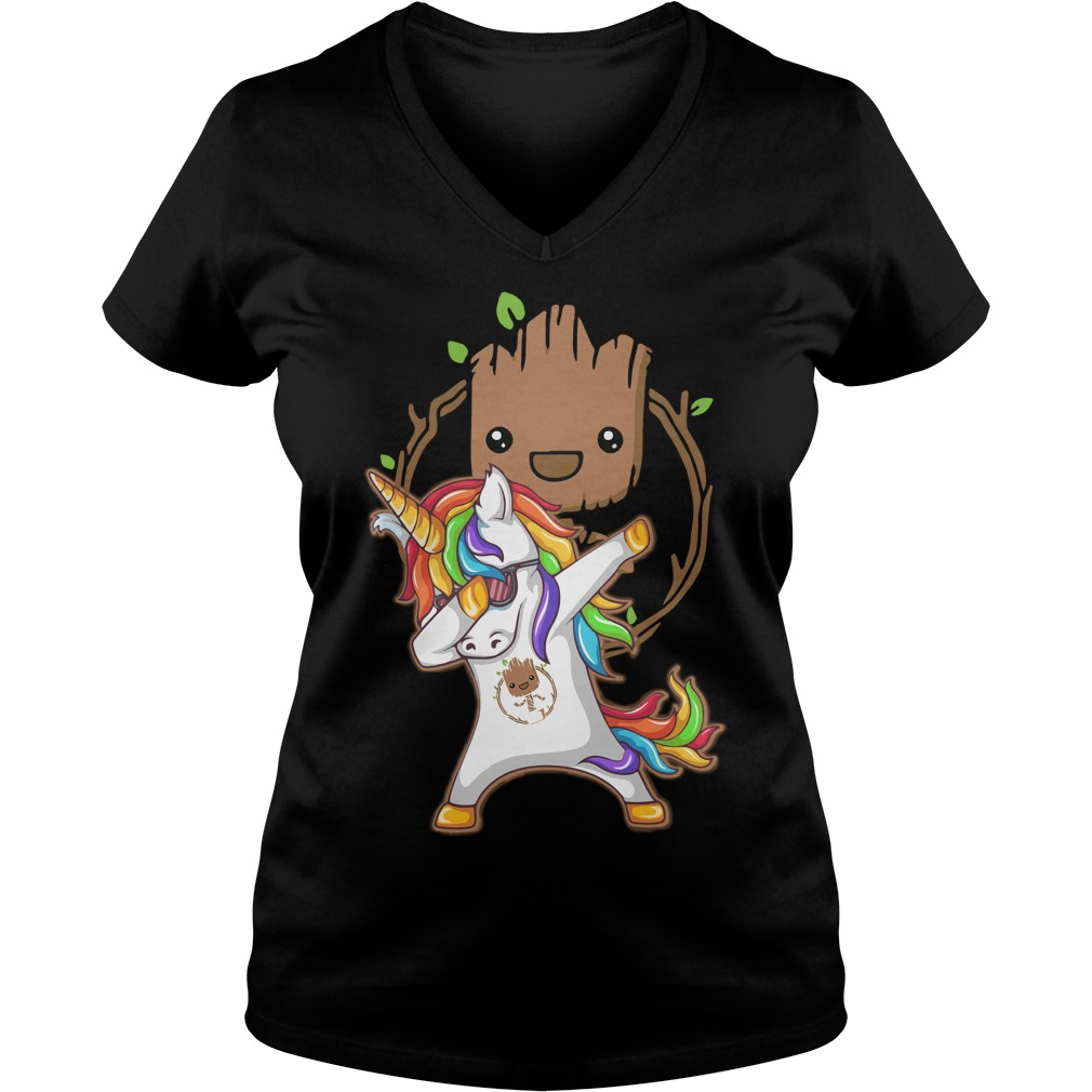 Groot Unicorn Dabbing V-neck t-shirt