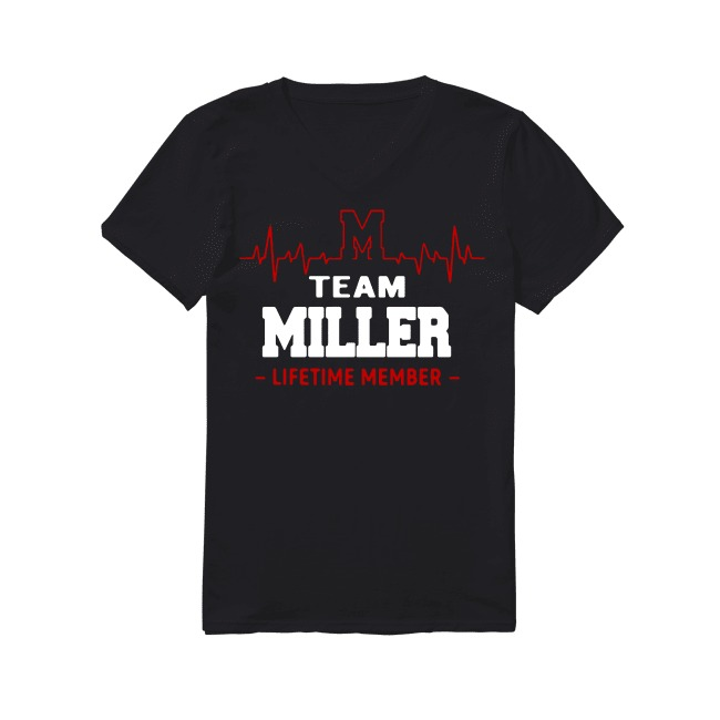 Heartbeat M team Miller lifetime member V-neck T-shirt