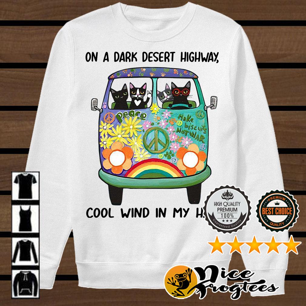 Hippie bus cats in a dark desert highway cool wind in my hair shirt