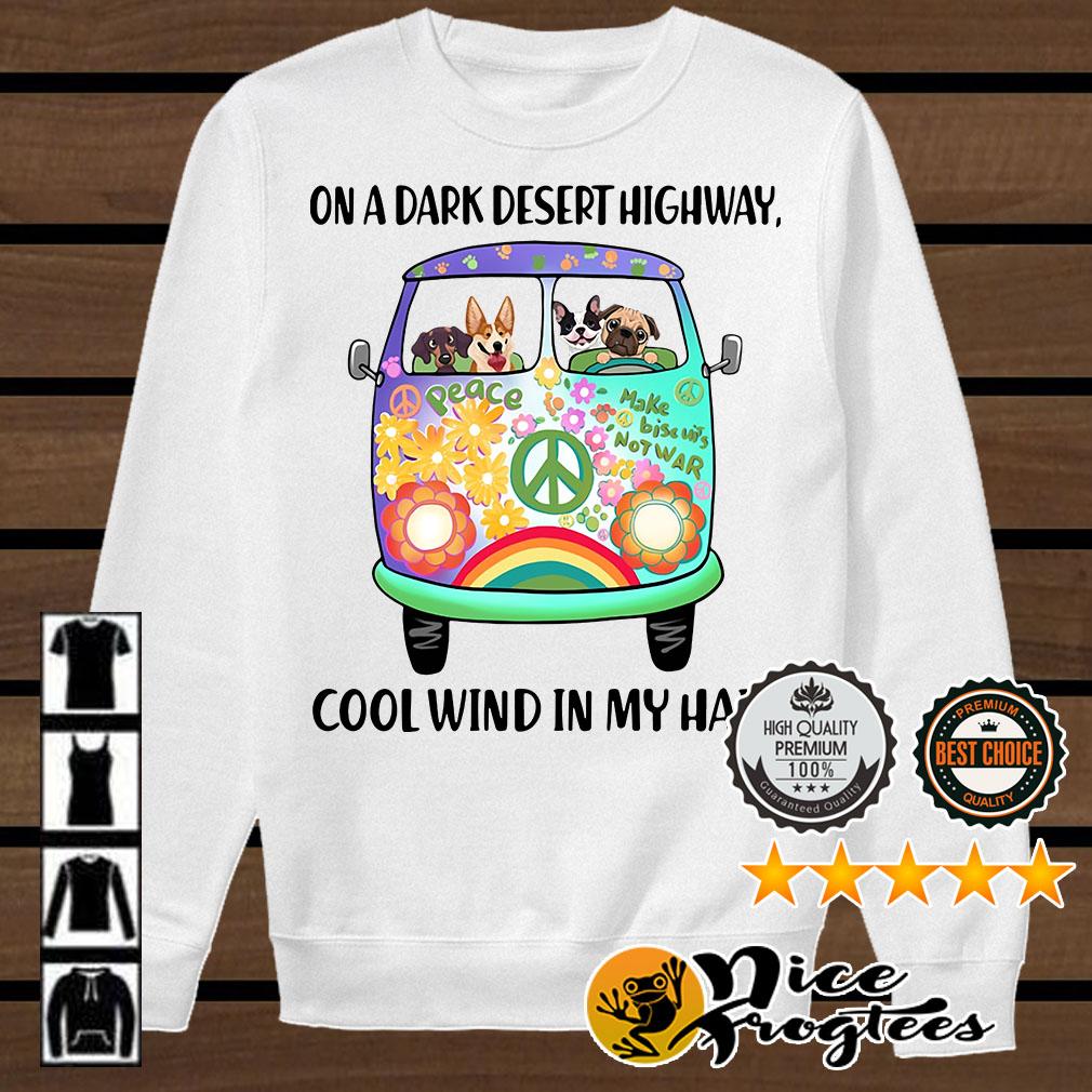 Hippie bus dogs in a dark desert highway cool wind in my hair shirt