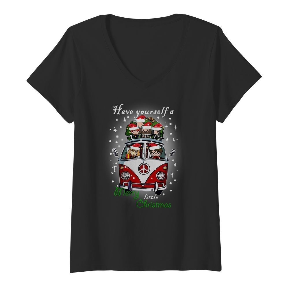 Hippie car Harry Potter have yourself a Merry little Christmas V-neck T-shirt