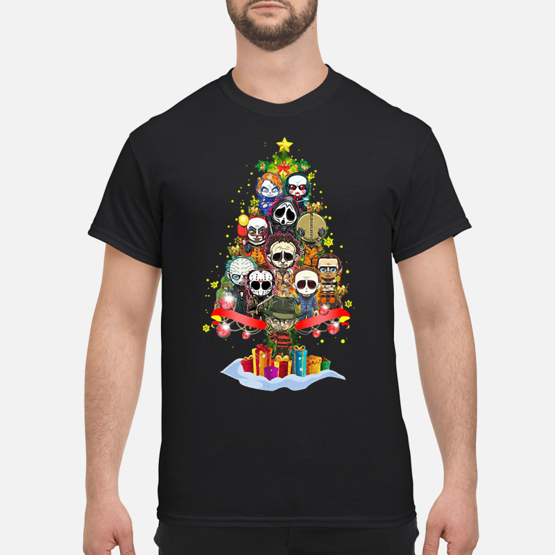 Horror scary characters Christmas tree Guys shirt