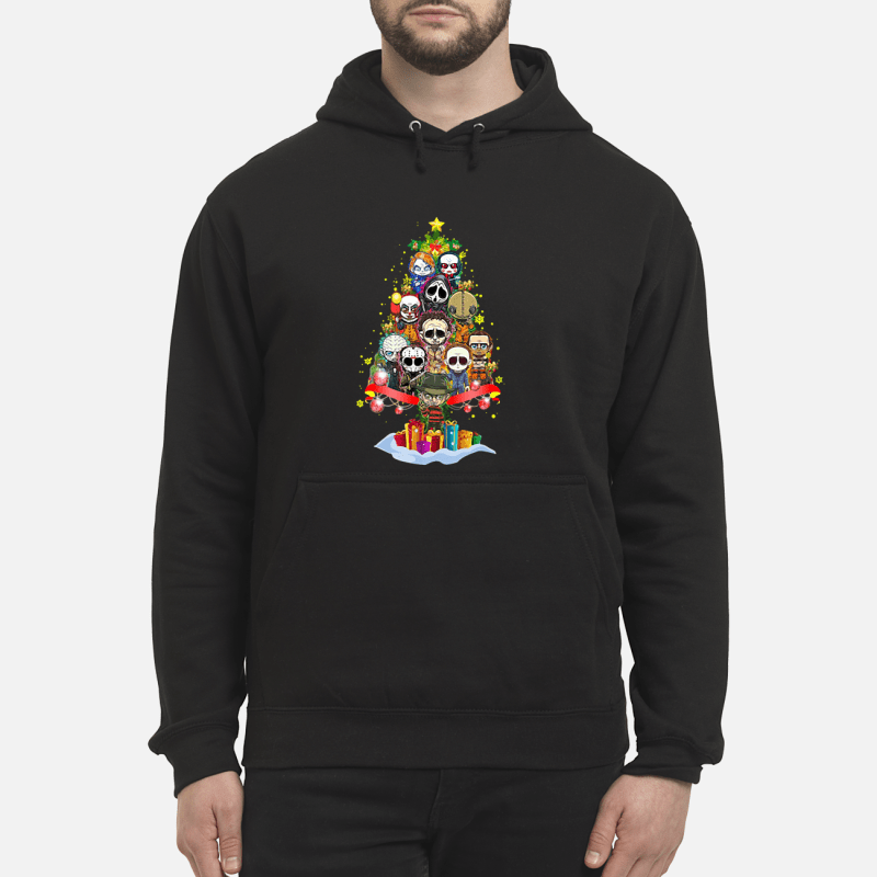 Horror scary characters Christmas tree Hoodie