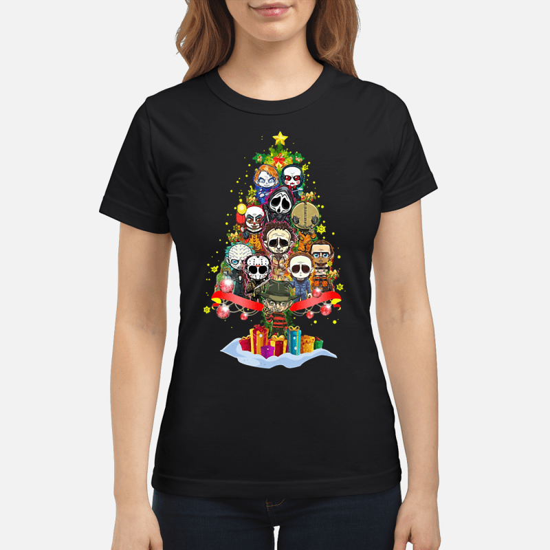 Horror scary characters Christmas tree Ladies tee
