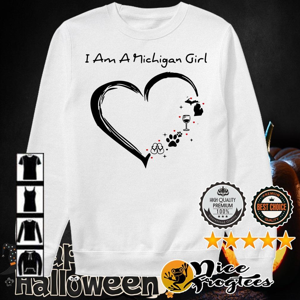 I am a Michigan girl I love Scuba diving wine paw dog and flip flop shirt