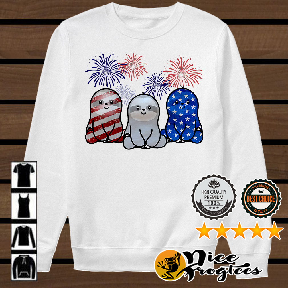 Independence day 4th of July Sloth beauty America flag shirt