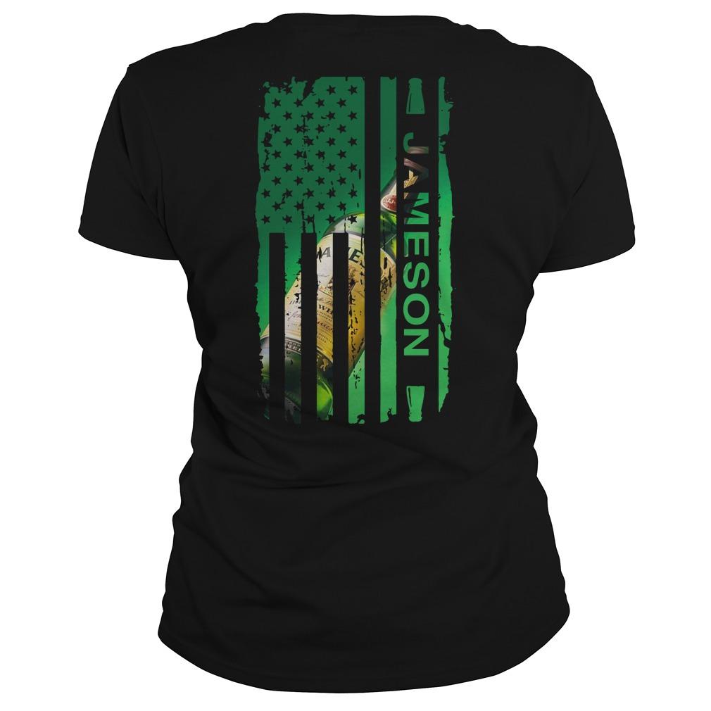 Jameson Irish Whiskey inside American flag Ladies tee