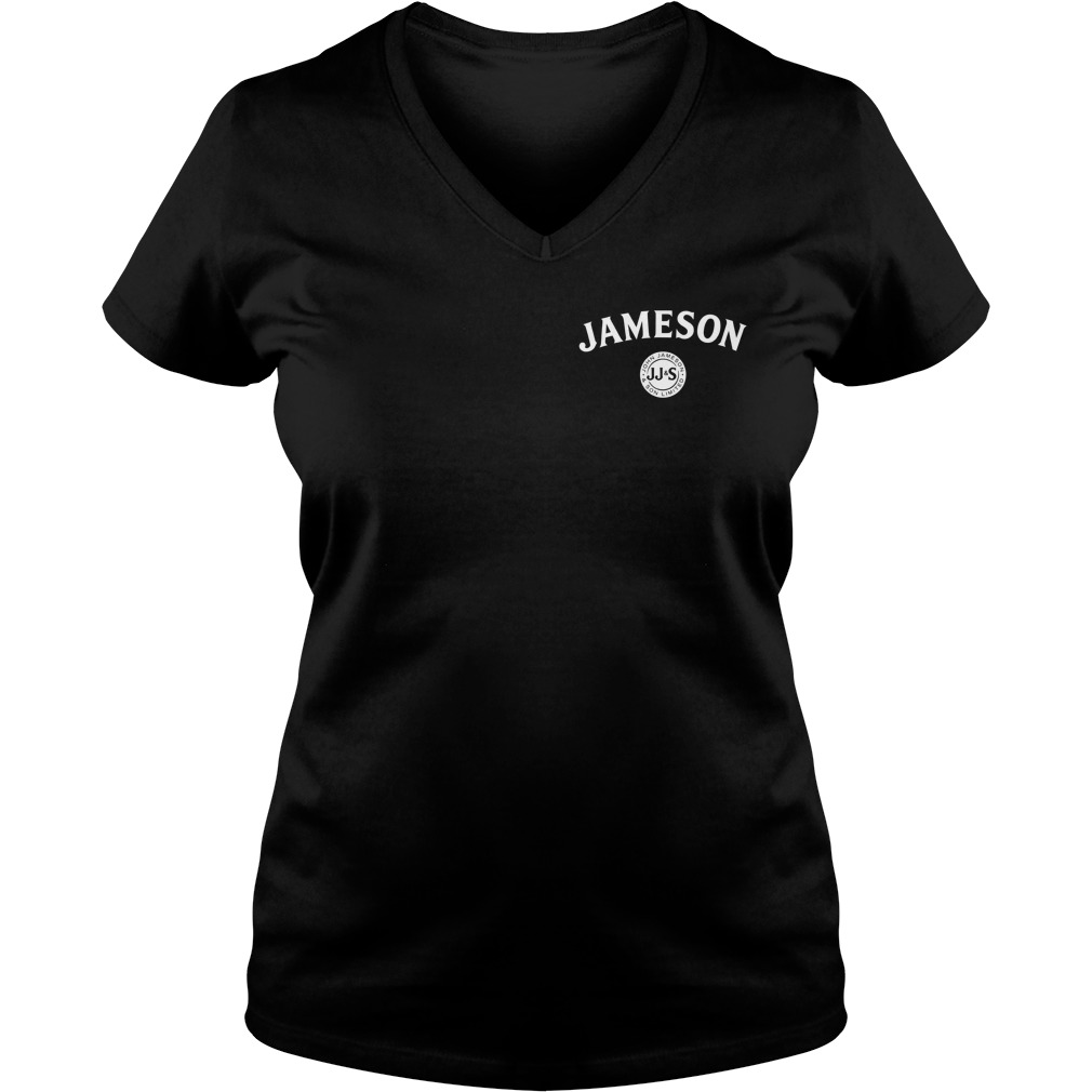 Jameson Irish Whiskey inside American flag V-neck t-shirt
