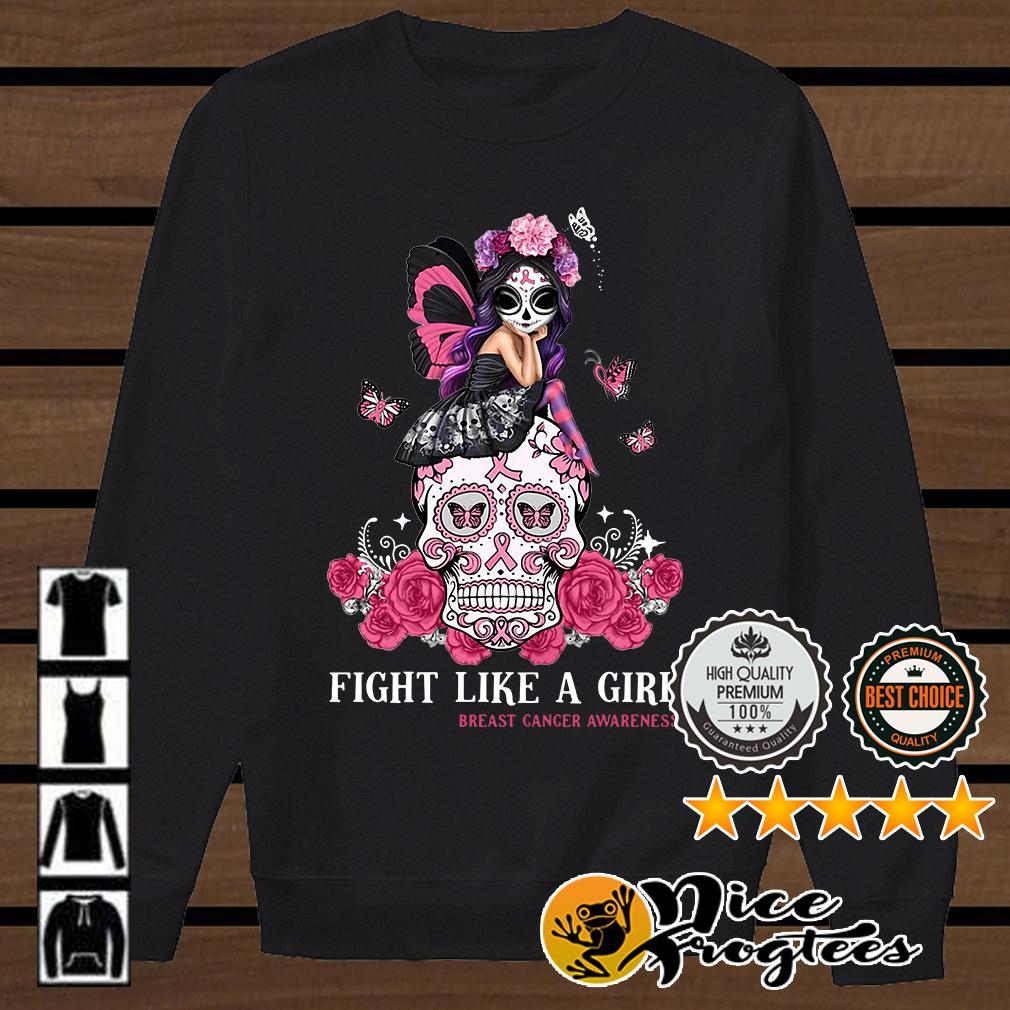 Jasmine Becket Griffith Sugar Skull fight like a girl breast cancer awareness shirt