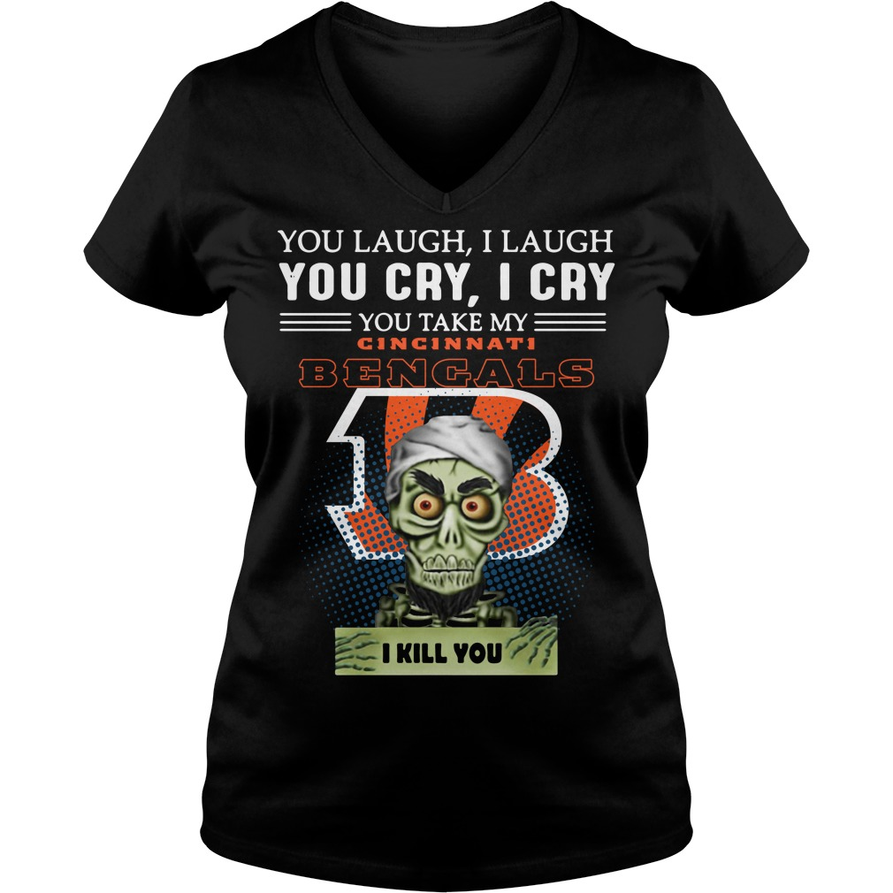 Jeff Dunham Achmed the Dead Terrorist laugh cry Cincinnati Bengals I kill you V-neck t-shirt