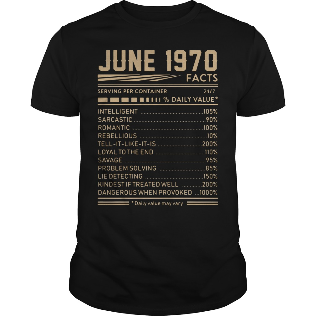 June 1970 facts serving per container % daily value shirt