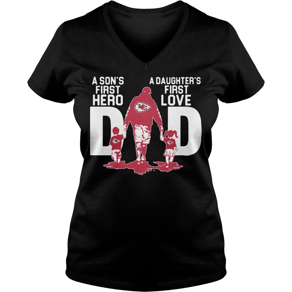 Kansas City Chiefs Dad a son's first hero a daughter's first love V-neck t-shirt