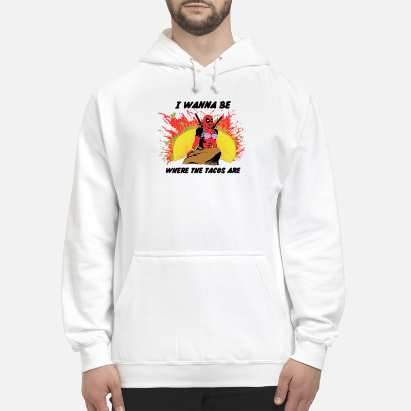 Little Mermaid with Deadpool I wanna be where the Tacos are Hoodie