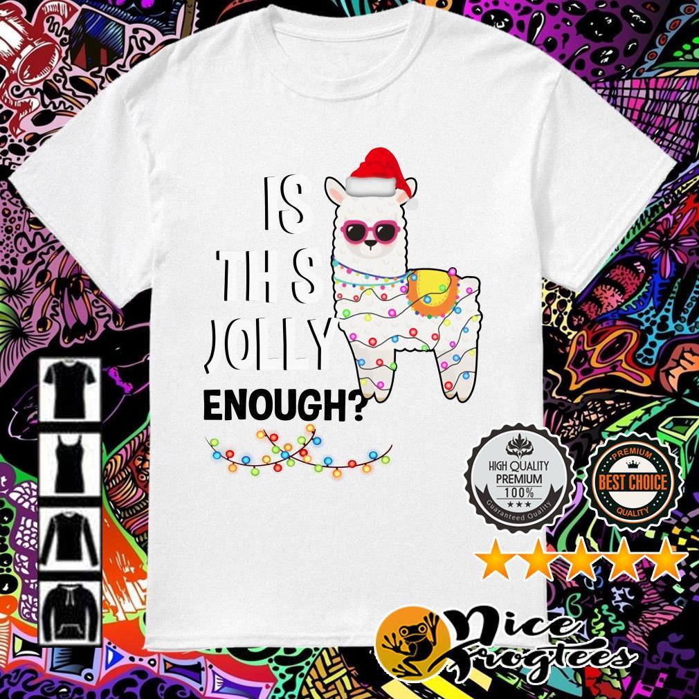 Llama is this Jolly enough light Christmas shirt