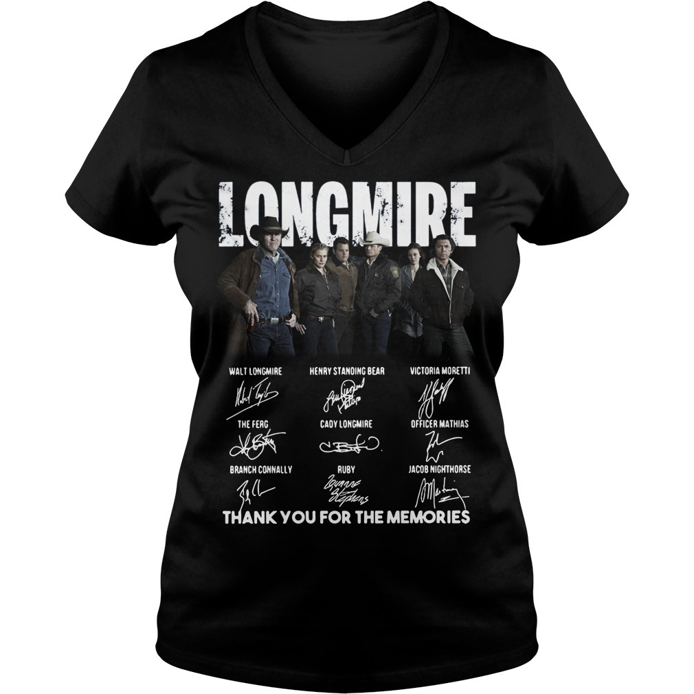 Longmire thank you for the memories signatures V-neck T-shirt