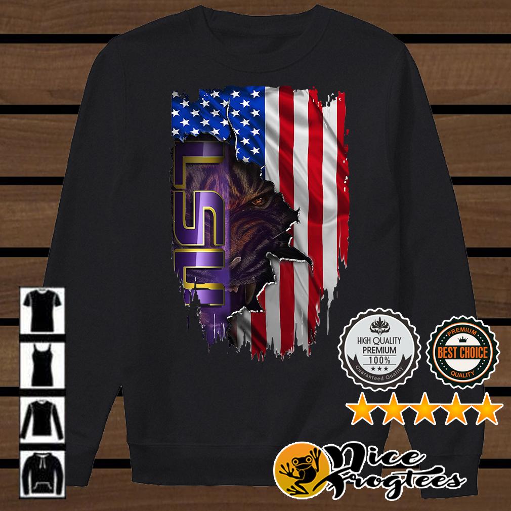 Louisiana State University LSU Tigers inside American flag shirt