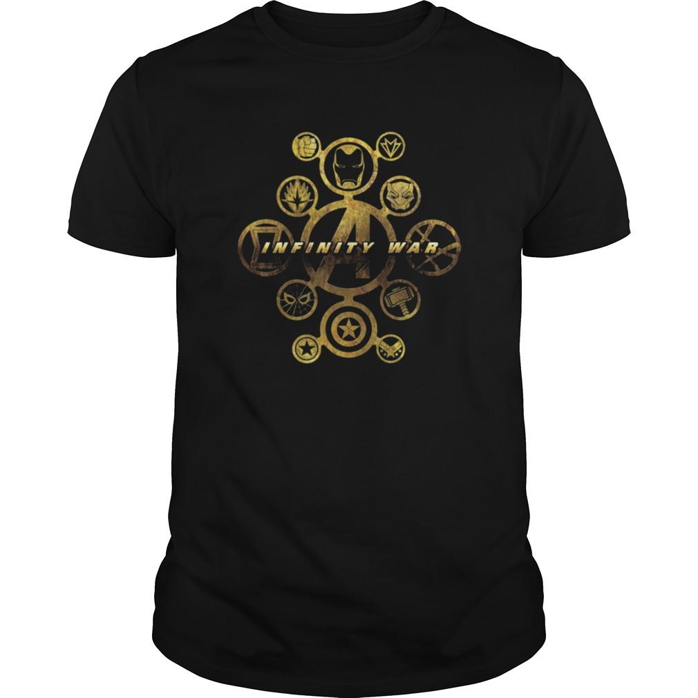 Marvel Avengers Infinity War Gold Hero Icons Graphic shirt