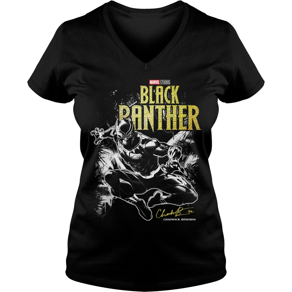 Marvel studio Black Panther Jungle Silhouette V-neck t-shirt